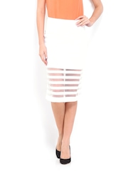 AND by Anita Dongre White Striped Pencil Skirt