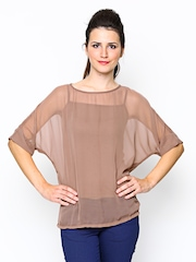 AND by Anita Dongre Women Taupe Sheer Top