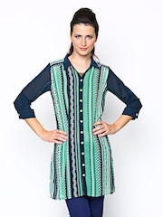 AND by Anita Dogre Women Turquoise Green & Navy Printed Sheer Tunic