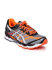 ASICS Men Grey & Neon Orange Gel-Cumulus 16 Running Shoes