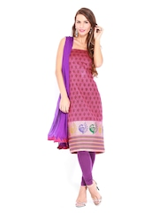Aaboli Pink & Purple Printed Art Silk Unstitched Dress Material