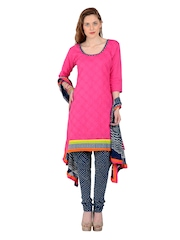 Aaboli Pink & Blue Cotton Unstitched Dress Material
