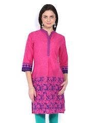Aaboli Women Pink & Navy Printed Kurta