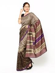Beige & Brown Silk Printed Saree Aaina