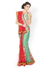 Aakriti Green & Red Embroidered Net Lehenga Partywear Saree