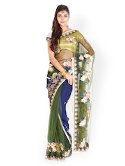 Aakriti Olive Green & Navy Embroidered Net Partywear Saree