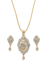 Aakshi Gold-Toned Earrings & Pendant Set with Chain