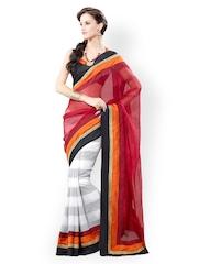 Aara Trendz Red & White Embroidered Super Net Partywear Saree