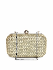 Aarnacraft Cream Toned Sequined Box Clutch