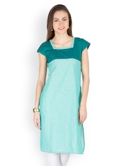 Women Turquoise Blue & Sea Green Kurta Abhishti