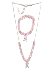 Accessorize Angels Girls Pink & Silver-Toned Jewellery Set