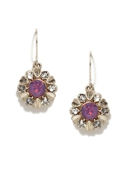 Accessorize Dull Gold-Toned & Purple Drop Earrings