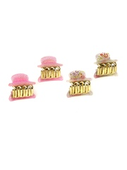 Accessorize Girls Set of 4 Pink & White Hair Grasps