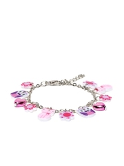 Accessorize Girls Silver-Toned & Pink Bracelet