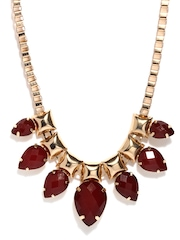 Accessorize Gold-Toned & Maroon Necklace