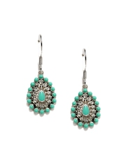 Accessorize Silver Toned & Green Drop Earrings