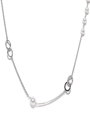 Addons Silver-Toned & White Necklace