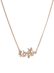 Addons Rose Gold Toned Virgo Necklace