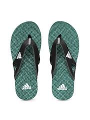 Adidas Men Black & Green Calo 5 Flip Flops
