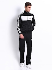 Adidas Men Black & White Tracksuit