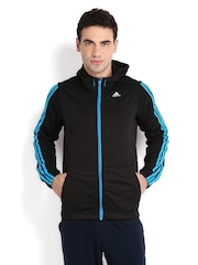 Adidas Men Black Hooded Jacket
