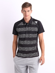 Adidas Men Black Printed Polo T-shirt