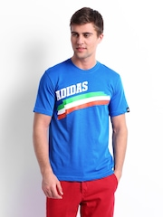 Adidas Men Blue Country Lineage Printed T-shirt