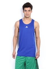 Adidas Men Blue Sleeveless T-shirt