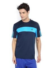 Adidas Men Blue Striped T-shirt