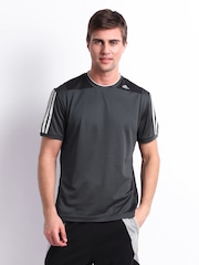 Adidas Men Charcoal Grey T-shirt
