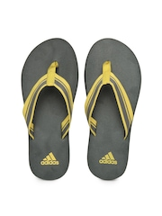 Adidas Men Grey & Yellow Adze Flip Flops