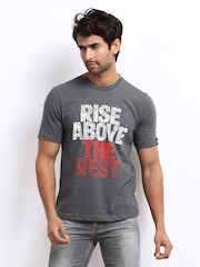 Adidas Men Grey Melange Printed T-shirt