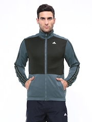 Adidas Men Grey & Black CLTR T-TOP KNIT Training Jacket