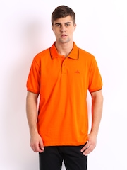 Adidas Men Orange Polo T-shirt