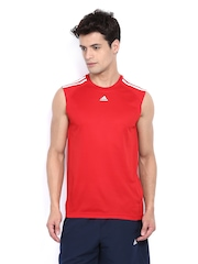Adidas Men Red Sleeveless T-shirt