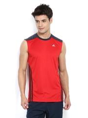 Adidas Men Red Sleeveless T-shirt