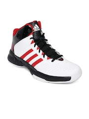 Adidas Men White & Black Cross 'em 3 Leather Basketball Shoes