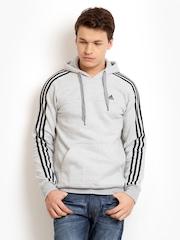 Adidas Men Grey Melange Hooded Sweatshirt