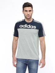 Adidas Men Grey & Navy ESS LIN3S Training T-shirt