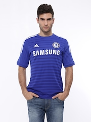 Adidas Men Blue Chelsea Football Club Printed CFC H JSY Jersey T-shirt
