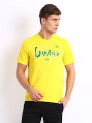 Adidas Men Yellow Printed T-shirt