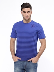 Adidas Men Blue CFC INS Striped Soccer T-shirt