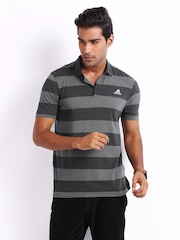 Adidas Men Charcoal Grey & Grey Melange Striped Polo T-shirt