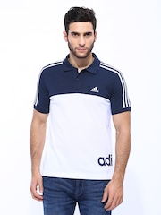 Adidas Men White & Navy ESS LIN3S Polo T-shirt
