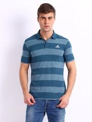 Adidas Men Blue Striped Polo T-shirt