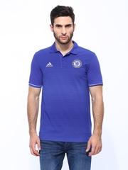 Adidas Men Blue CFC Polo Chelsea Football Club Striped Jersey T-shirt