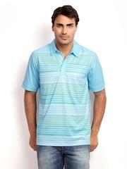 Adidas Men Blue & Green Striped Polo T-shirt
