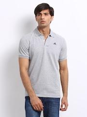 Adidas Men Grey Melange Polo T-shirt