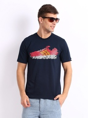 Adidas Men Navy Printed T-shirt