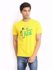 Adidas Men Yellow Printed T-shirt